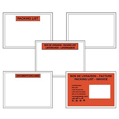 Pochette porte-documents en boîte distributrice de 250 pochettes##Bedrukte zelfklevende documentenhoesjes in dispenserdoos, 60 micron
