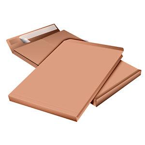 Pochette à soufflet 5 cm en kraft blond armé format 24 - 330 x 260 mm 130g sans fenêtre - bande autoadhésive