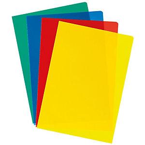 Pochettes coin A4 polypropylène grainé 12/100 - couleur bleu - Boîte de 100