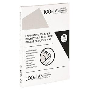Pochettes de plastification A3 - Epaisseur : 75 microns par face - Boîte de 100