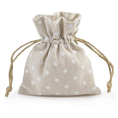Polka dot cotton drawstring gift bags