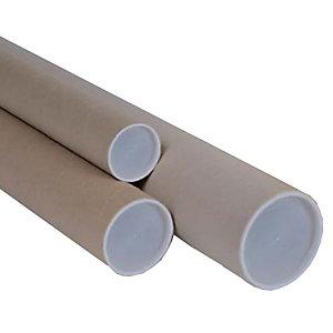 POLYEDRA Tubo in cartone avana - doppio tappo trasparente - altezza 50 cm - diametro 6 cm - Polyedra