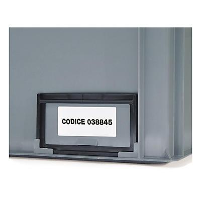 Porta etichetta per contenitori impilabili e pallettizzabili