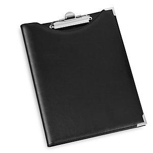 Portablocco in similpelle con tasca - nero - 24 x 31cm - Lebez