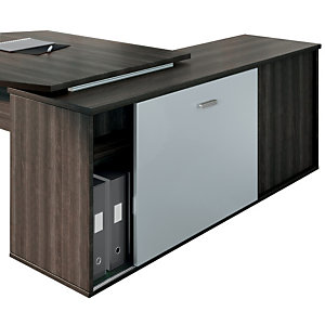 Porte coulissante optionnelle pour bureau Direction Moka -  Gris aluminium