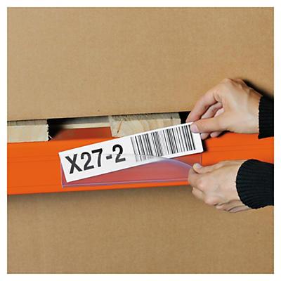 Porte-étiquettes pour changements réguliers, fixation adhésive##Etikettenhalterungen mit grosser Öffnung, selbstklebend
