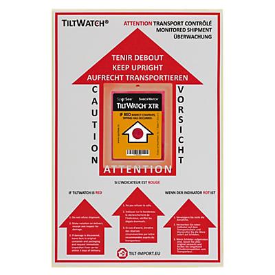 Étiquette de positionnement pour l'indicateur de renversement##Positionierungsetikett für Tiltwatch Kippindikator