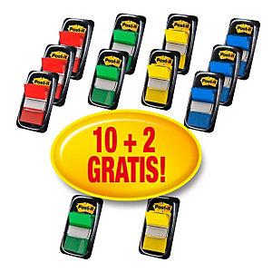 Post-it® 10 packs de 50 marcapáginas medianos de 25,4 x 43,2 mm en colores variados + 2 packs gratuitos de 50 con dispensadores