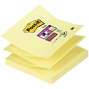 POST-IT 12 Blocs 90 Feuilles Notes Repositionnables Super Sticky Z-Notes Carré Canary Yellow™, 76 x 76 mm