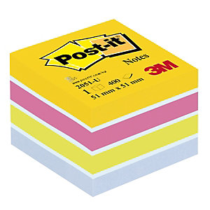 Post-it® 2051-U Notas Adhesivas Cubo 51 x 51 mm, Colores Surtidos, 400 hojas