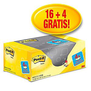 Post-it® 653Y-20 Canary Yellow™ Pack Ahorro 16 + 4 GRATIS, bloques de notas adhesivas 38 x 51 mm, amarillo canario, 100 hojas