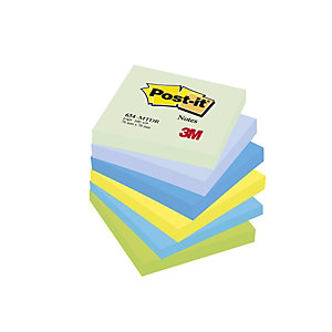 Post-it® 654-MTDR Notas Adhesivas Bloques 76 x 76 mm, Colores Surtidos, 100 hojas