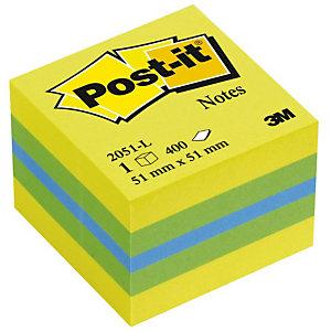 Post-it® 654-RB Notas Adhesivas Cubo 51 x 51 mm, Colores Surtidos, 400 hojas