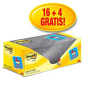 Post-it® 654CY-VP20 Pack Ahorro 16 + 4 GRATIS, bloques de notas adhesivas Canary Yellow™ , 76 x 76 mm, amarillo canario, 100 hojas