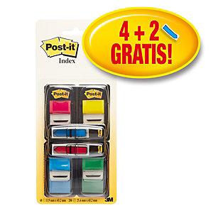 Post-it® 680-P6 Pack Ahorro de 4 dispensadores de 50 marcapáginas de 25,4 x 43,2 mm + 2 dispensadores de 24 marcapáginas flecha de 11,9 x 43,2 mm GRATIS colores surtidos