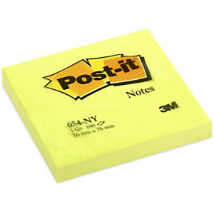 Post-it® Bloc 100 Feuilles de notes repositionnables, carré Jaune Néon, 76 x 76 mm