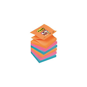 Post-it® Bloc 100 Feuilles Notes Repositionnables Super Sticky Z-Notes Carré Assortis Pétillants, 76 x 76 mm