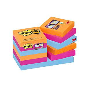 Post-it® Bloc 90 Feuilles Notes Repositionnables Super Sticky Carré Collection Bangkok, 48x48 mm, Lot de 12