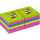 Post-it® Bloc 90 Feuilles Notes Repositionnables Super Sticky Carré Rainbow, 76 x 76 mm, Lot de 12