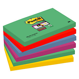 Post-it® Bloc 90 Feuilles Notes Repositionnables Super Sticky Rectangle Collection Marrakech, 76 x 127 mm