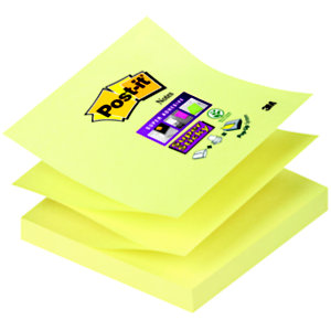 Post-it® Bloc 90 Feuilles Notes Repositionnables Super Sticky Z-Notes Carré Canary Yellow™, 76 x 76 mm