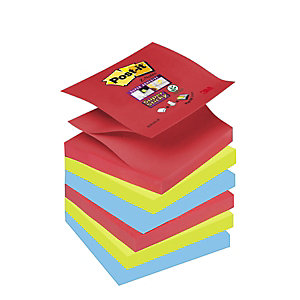 Post-it® Bloc 90 Feuilles Notes Repositionnables Super Sticky Z-Notes Carré Collection Bora Bora, 76 x 76