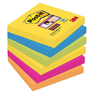 Post-it® Bloc de notas adhesivas Super Sticky 76 x 76 mm en colores surtidos intensos y neón, 90 hojas