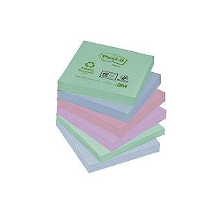 Post-it® Bloc de notes adhésives, 100feuilles, papier recyclé, collection PastelRainbow, 76x76mm