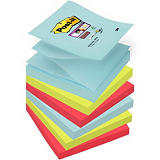 Post-it® Bloc de Z-notes Super Sticky, 76 x 76 mm, collection multicolore Miami, 90 feuilles