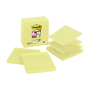 Post-it® Blocco di foglietti adesivi Super Sticky a righe per dispenser, 101 x 101 mm, Colore giallo, Confezione da 5 pezzi, 90 foglietti (confezione 5 pezzi)