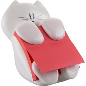 Post-it® Dévidoir chat blanc pour Z-Notes repositionnables 76 x 76 mm - 1 bloc de 90 feuilles rouges offert