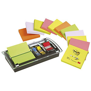 Post-it® DIA-330 Dispensador para Z-Notes + 12 bloques de notas adhesivas 76 x 76 mm, colores surtidos