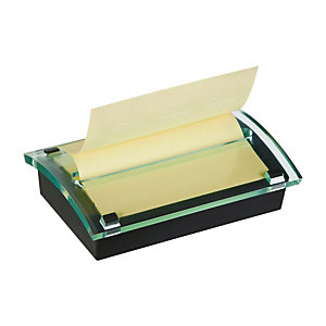 Post-it® Dispenser da scrivania Millennium per foglietti riposizionabili Z-Notes Nero + 1 blocco da 100 foglietti 76 x 127 mm, Giallo Canary