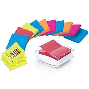 Post-it® Dispenser da scrivania Pro Bianco con foglietti Super Sticky Z-Notes, 76 x 76 mm, Colori assortiti Collezioni Bangkok e Bora Bora, 100 foglietti, confezione da 12 pezzi