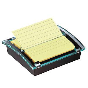 Post-it® Dispenser per foglietti Post-it® Super Sticky, Colore Nero/Trasparente + Blocco di foglietti Super Sticky a righe, 101 x 101 mm, Colore Giallo Canary™, 90 foglietti