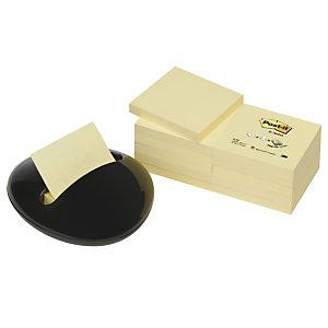 Post-it® Dispenser per foglietti riposizionabili Z-Notes, Design Ciottolo, Nero, + 12 blocchi da 100 foglietti 76 x 76 mm
