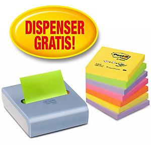 Post-it® Dispenser per foglietti riposizionabili Z-Notes, Design ricurvo, Blu/Grigio + 8 blocchi da 100 foglietti 76 x 76 mm, Colori Neon assortiti