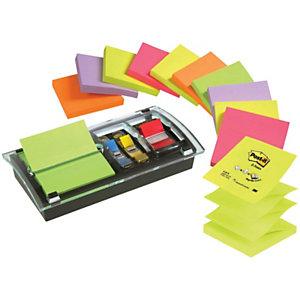 Post-it® Distributeur noir Millenium CombiDesk avec Z-Notes 76 x 76 mm Rainbow Néon 12 x 100 feuilles et marque-pages de taille moyenne rouge DS100-VP