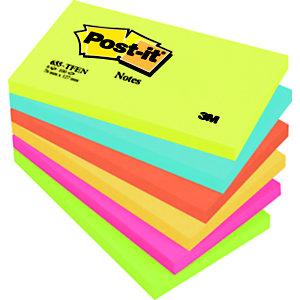 Post-it® Foglietti riposizionabili, Blocchi 76 x 127 mm, Collezione colori Energy, 100 foglietti (confezione 6 pezzi)