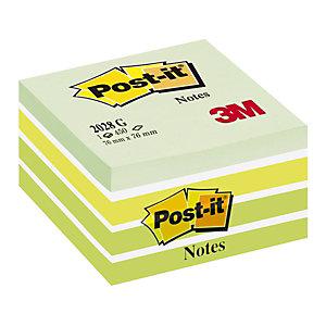 Post-it® Foglietti riposizionabili, Cubo 76 x 76 mm, Verde Pastello, 450 foglietti