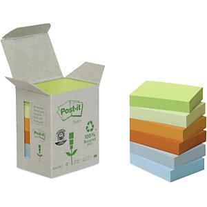 Post-it® Foglietti riposizionabili riciclati, Blocchi 38 x 51 mm, Collezione colori Arcobaleno, 100 foglietti (confezione 6 pezzi)