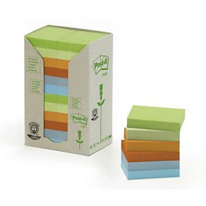 Post-it® Foglietti riposizionabili riciclati, Blocchi 38 x 51 mm, Colori pastello assortiti, 100 foglietti (confezione 24 pezzi)