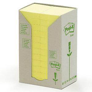 Post-it® Foglietti riposizionabili riciclati, Blocchi 38 x 51 mm, Giallo Pastello, 100 foglietti (confezione 24 pezzi)