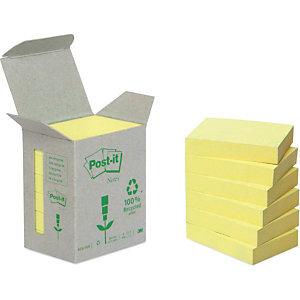 Post-it® Foglietti riposizionabili riciclati, Blocchi 38 x 51 mm, Giallo Pastello, 100 foglietti (confezione 6 pezzi)