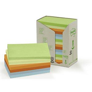 Post-it® Foglietti riposizionabili riciclati, Blocchi 76 x 127 mm, Colori Pastello assortiti, 100 foglietti (confezione 16 pezzi)