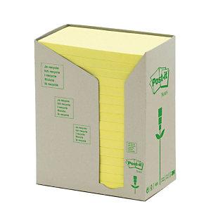 Post-it® Foglietti riposizionabili Riciclati, Blocchi 76 x 127 mm, Giallo Pastello, 100 foglietti (confezione 16 pezzi)