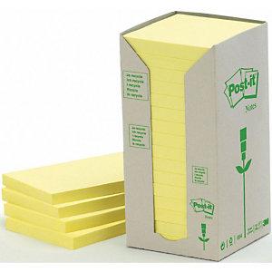 Post-it® Foglietti riposizionabili riciclati, Blocchi 76 x 76 mm, Giallo Pastello, 100 foglietti (confezione 16 pezzi)
