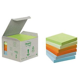 Post-it® Foglietti riposizionabili riciclati, Blocchi 76 x 76 mm, Verde Pastello, 100 foglietti (confezione 6 pezzi)