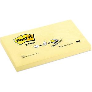 Post-it® Foglietti Z-Notes per dispenser, Blocchi 76 x 127 mm, Giallo Canary, 100 foglietti (confezione 12 pezzi)