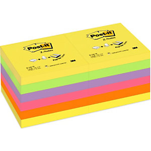 Post-it® Foglietti Z-Notes per dispenser, Blocchi 76 x 76 mm, Collezione colori Arcobaleno, 100 foglietti (confezione 12 pezzi)